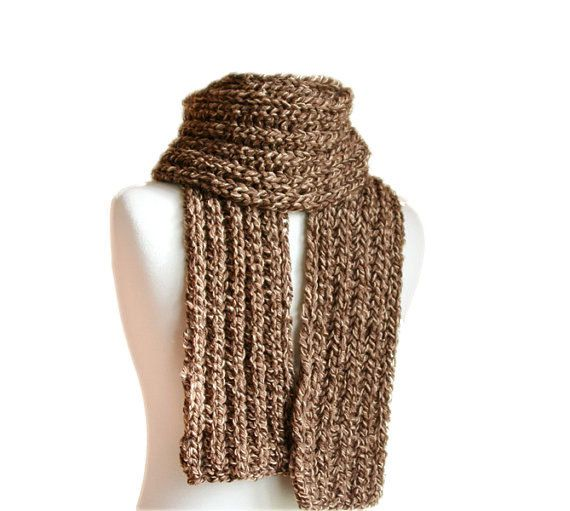 Men's Scarf in Brown and Creme  Fall Winter by ForYouDesign, $35.00