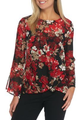 New Directions Women's Long Sleeve Knot Front Floral Chiffon Top - Radiant Red Combo - Xl