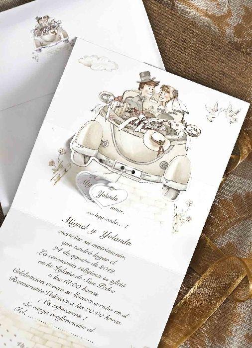 Invitación de Boda Comic Coche, Detalles originales y regalos de boda baratos - Invitaciones de boda y alfileres de novia