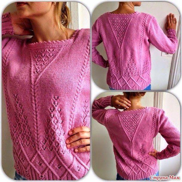 Модели вязания: Розовый пуловер