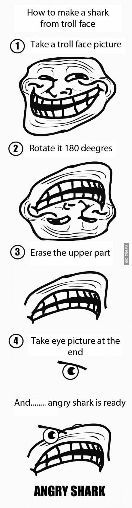 How to make a shark from troll face
