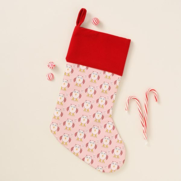 Cute Pink Baby Girl Owl Luxury Stocking #stocking #christmas #sock #xmas
