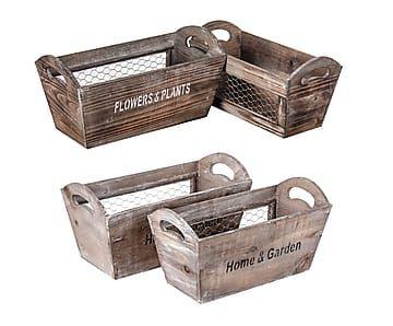 Set de 4 cajas de madera de abeto con asa - natural