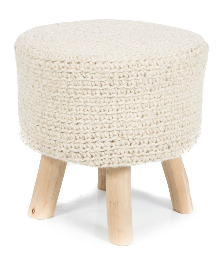 Wood and Wool Stool, Hand Knitted in Ivory