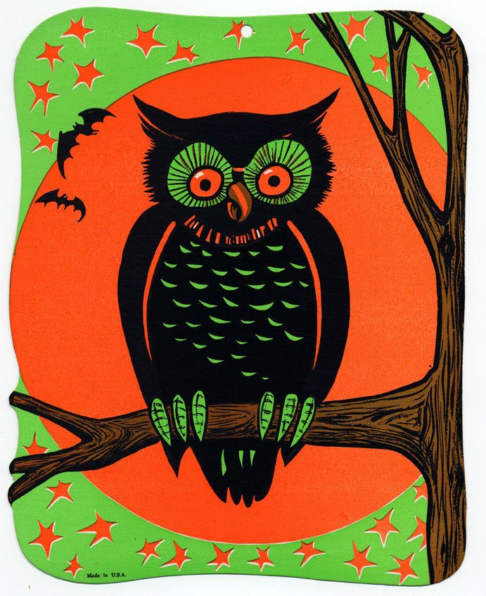 1970 beistle owl fluorescent die cut decoration one of 4 designs size - Beistle Halloween Decorations