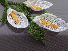 İğne oyaları gala (calla) çiçeği yapımı