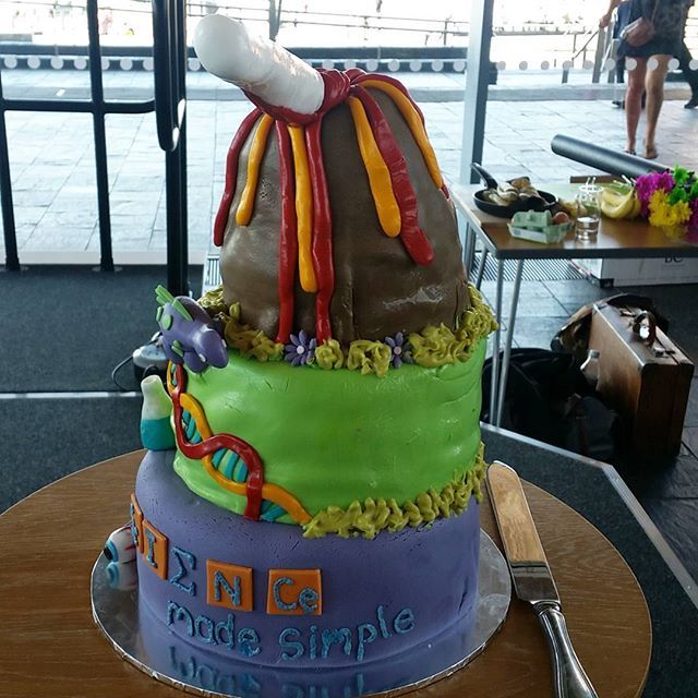 We're very excited to be at @scimadesimple's birthday bash! What an awesome cake by @nemesian #science #cake