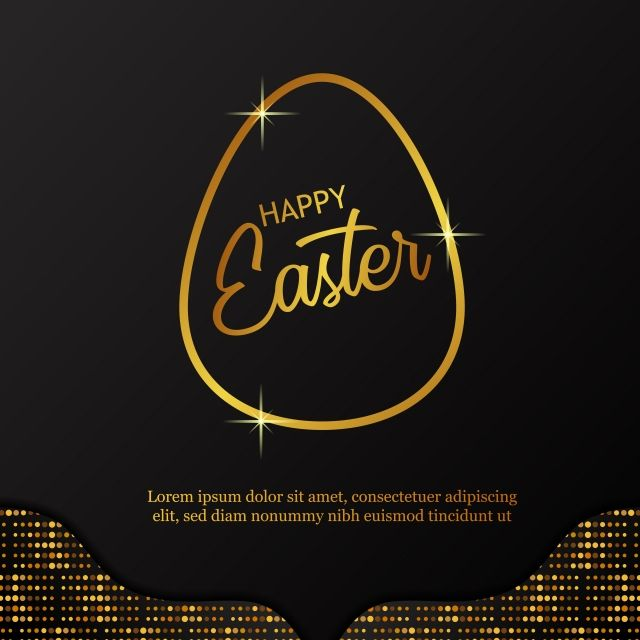 Simple Modern Golden Outline Egg With Black Background And