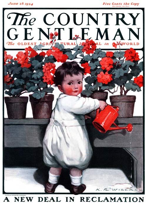 The red cheeks remind me of #eczema toddler, where rashes on cheeks are common in young children. Love the red, contrast with white and grey! June 1924: Artist K.R. Wireman #toddler