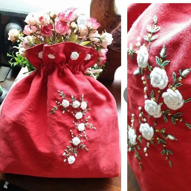 #rose embroidery  pouch #장미자수 파우치#야생화자수 #프랑스장미자수