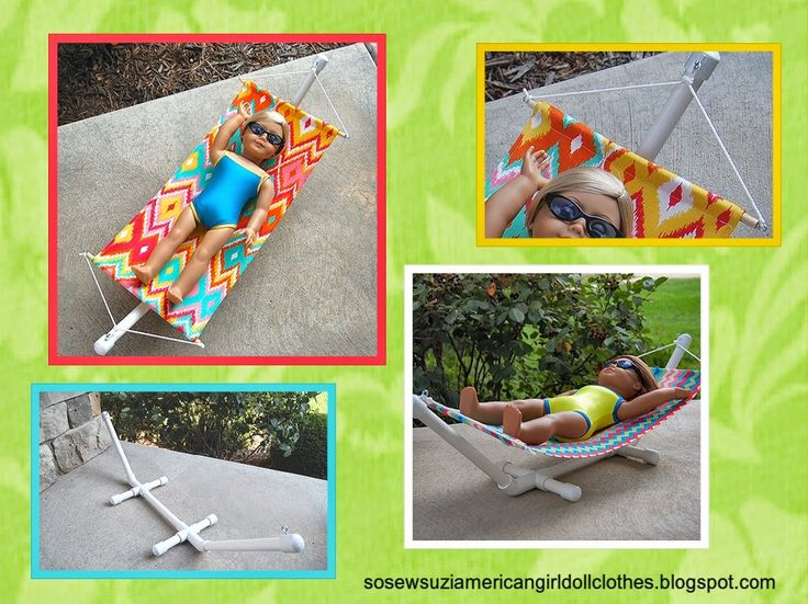 $13.63 is all it cost me to make a cute hammock for my doll.   Sewing for American Girl Dolls