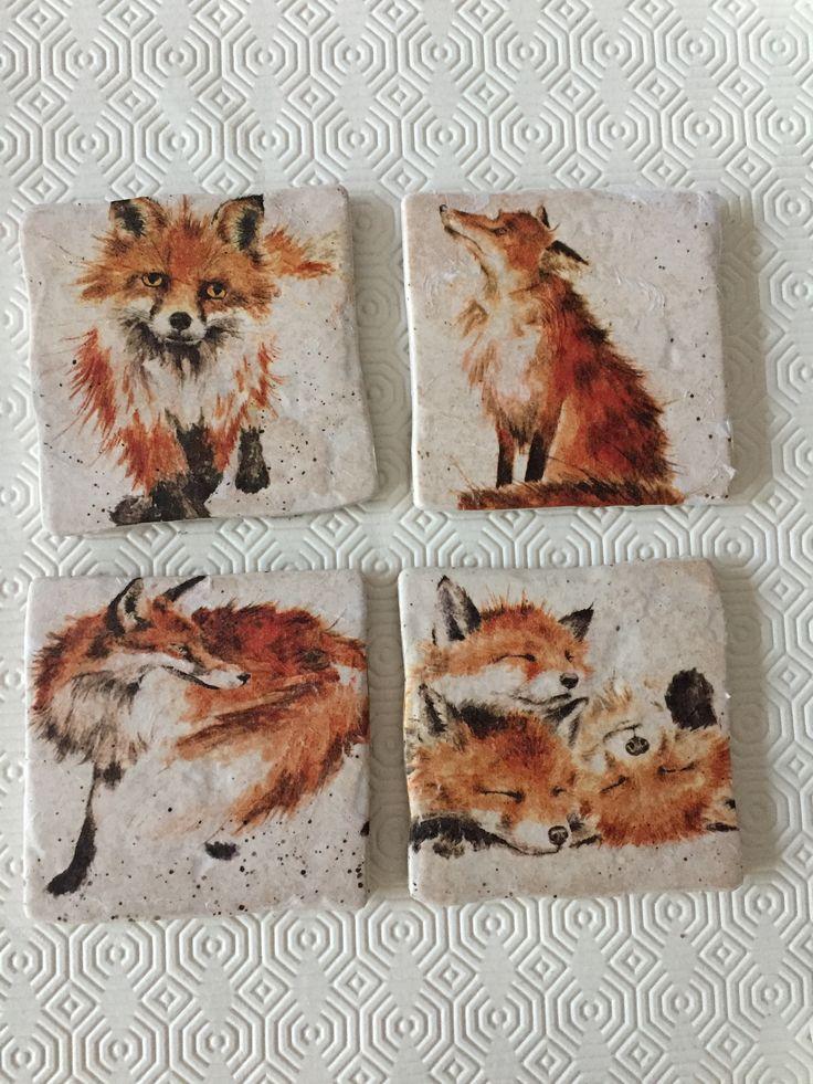 Fox Cub Coasters by Peppershells Vintage