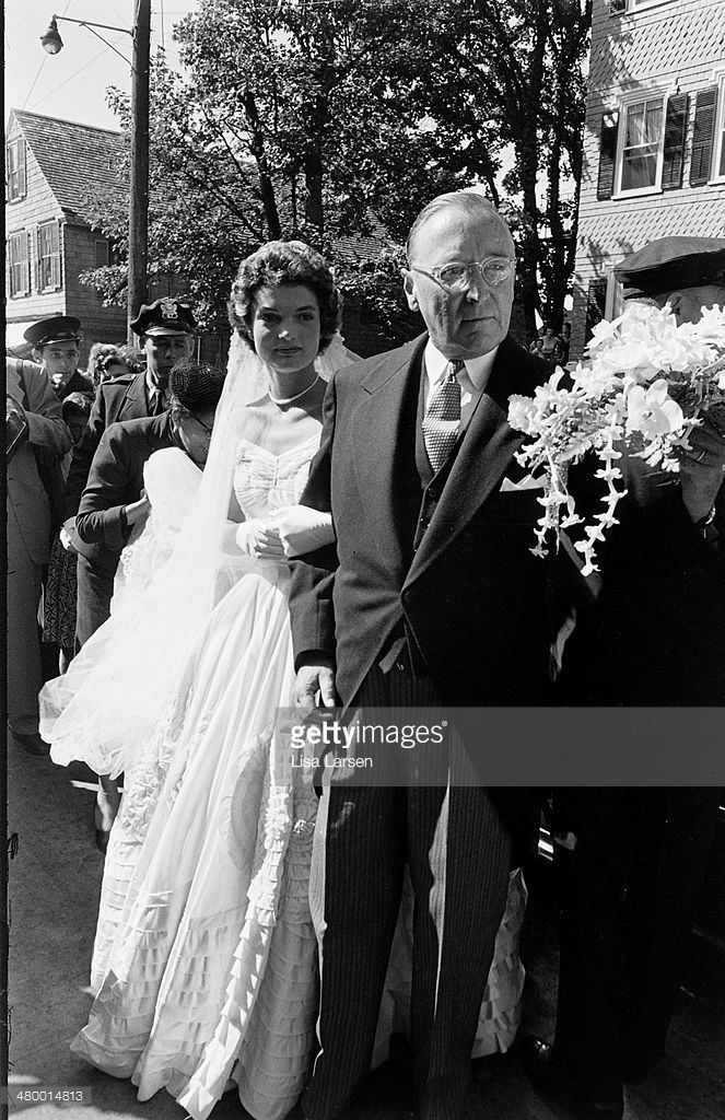 Future US First Lady Jacqueline Bouvier Kennedy is escorted to St... News Photo   Getty Images