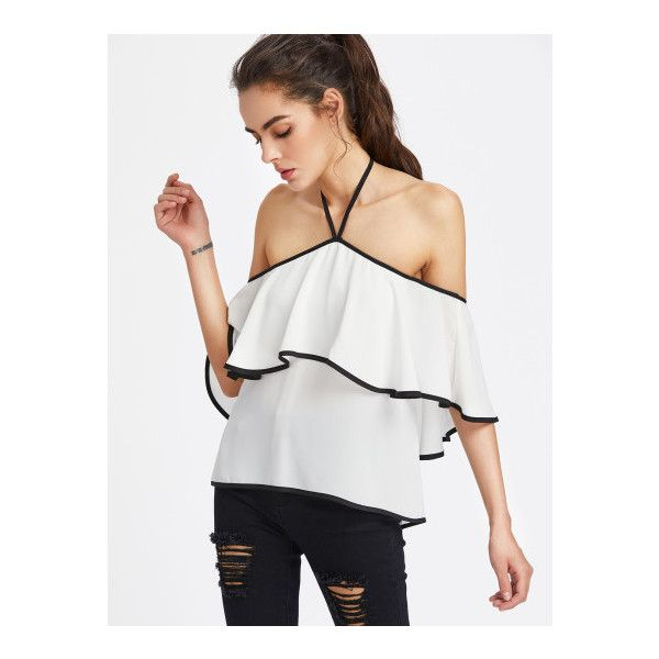 SheIn(sheinside) Contrast Binding Flounce Halter Bardot Top (87 SEK) ❤ liked on Polyvore featuring tops, white, sexy off the shoulder tops, off shoulder ruffle top, ruffle top, off the shoulder ruffle top and white off shoulder top