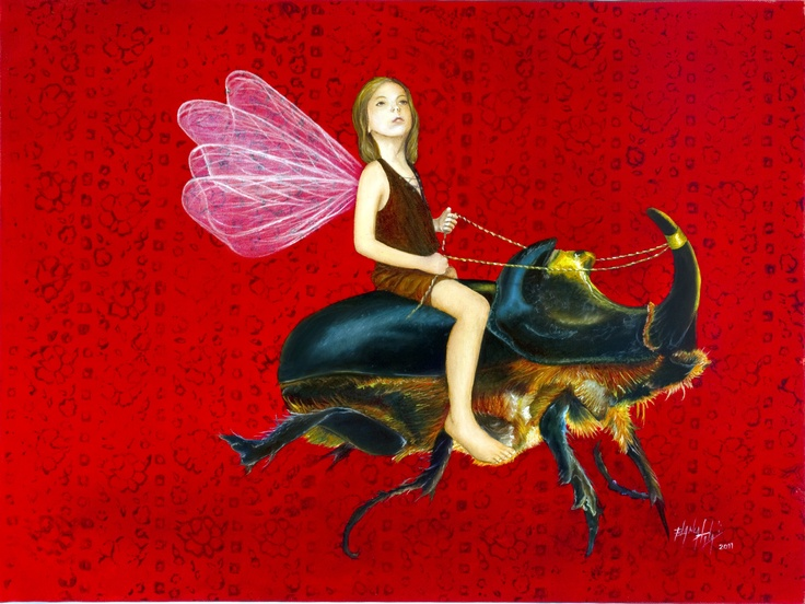 "Rider, 2011  Oil & Pigment on Canvas  18"" x 24""  by Blanca Plata"