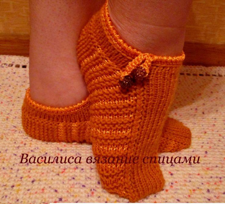 Тапочки следки спицами ПОЛОСКИ knitted slippers