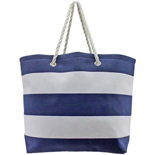 Navy Blue & White Wide Stripe Deluxe Oversize Beach Tote Bag ($27) ❤ liked on Polyvore featuring bags, handbags, tote bags, totes, fashion bags, striped tote, striped beach tote, purse tote, weekender bag and tote handbags