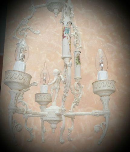 LAMPADARIO-antico-bronzo-e-ceramiche-pezzo-unico-restaurato-shabby-provenzale
