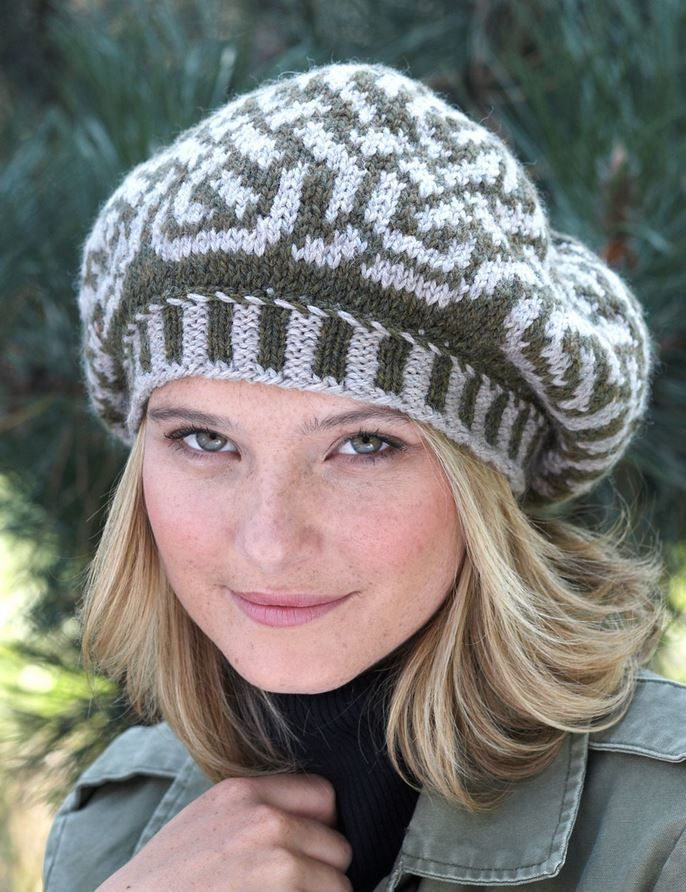 Celtic Beauty Beret Hat Messages, Yarns and Knitting needles