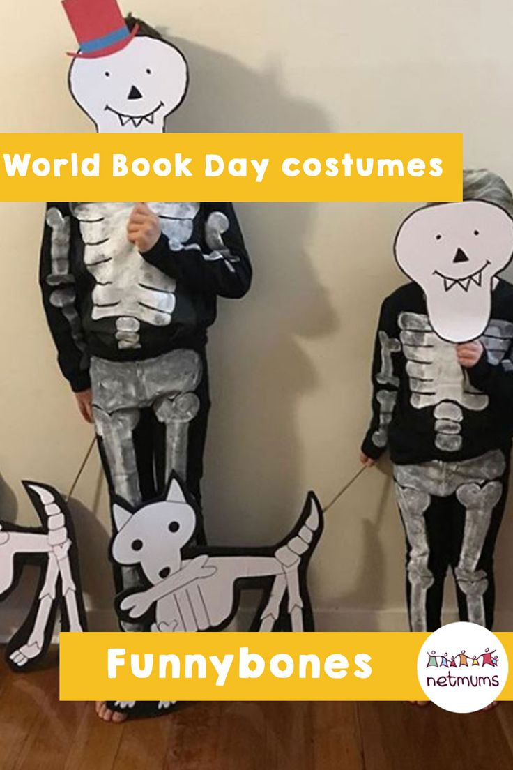 World Book Day costume ideas. Funnybones - You can adapt your child's Halloween costume to make this Funnybones outfit for World Book Day. The cardboard cutouts really make the outfits.