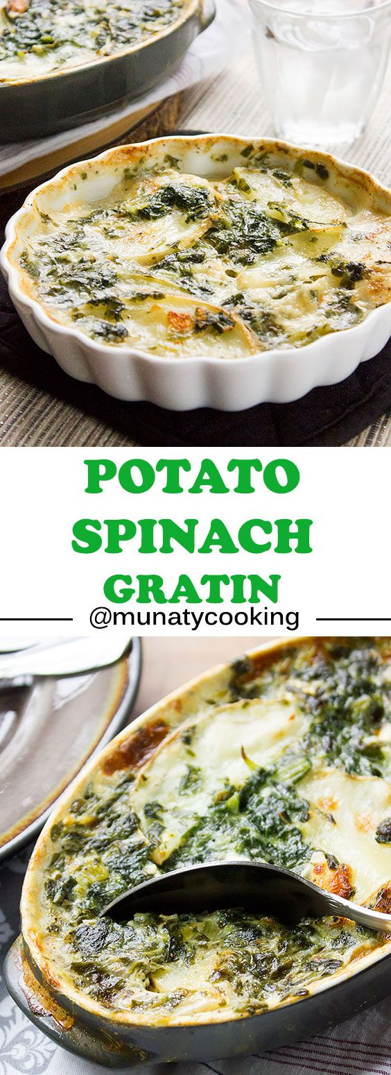 Potato Spinach Gratin. Make sure to have some potato gratin on your table. Potato gratin is a delicate, delicious, and yes, it is a rich appetizer that will please the taste buds of your family and guests. www.munatycooking.com| @munatycooking - #ad or #sponsored @joanofarcbrie