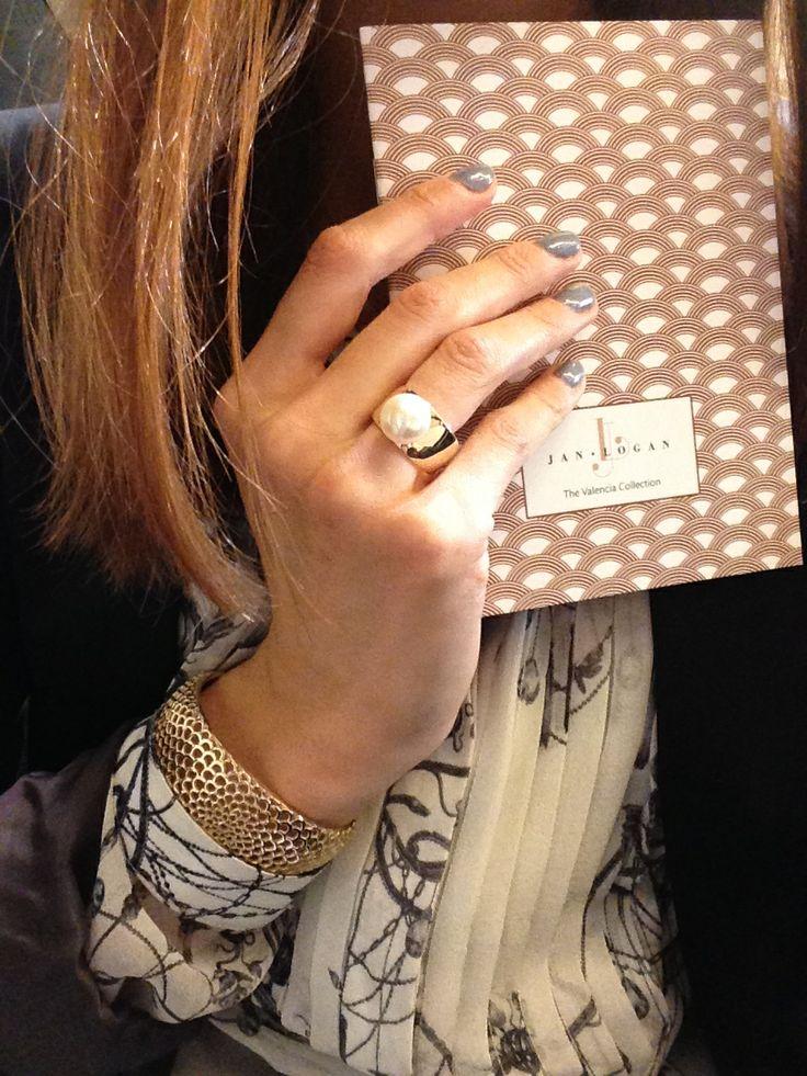 Jan Logan 'Maggie' Pearl Ring and Gold 'Gaudi' bangle
