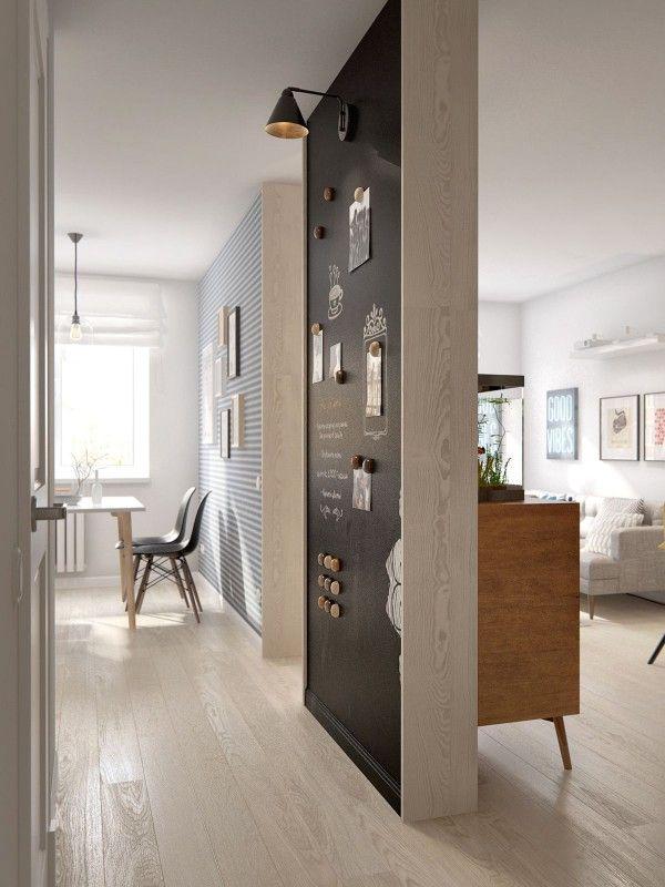 Parede de quadro negro imantada na cozinha