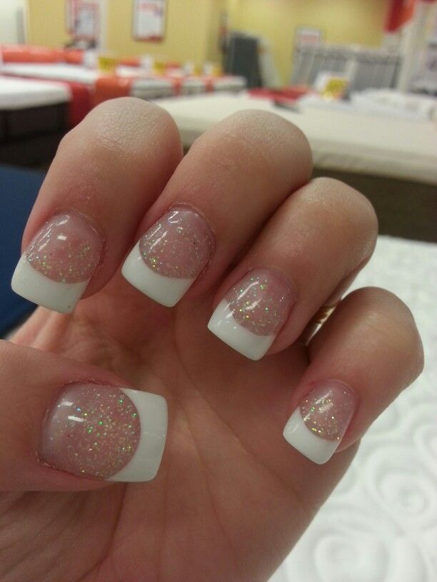 Glitter solar nails #white #tips