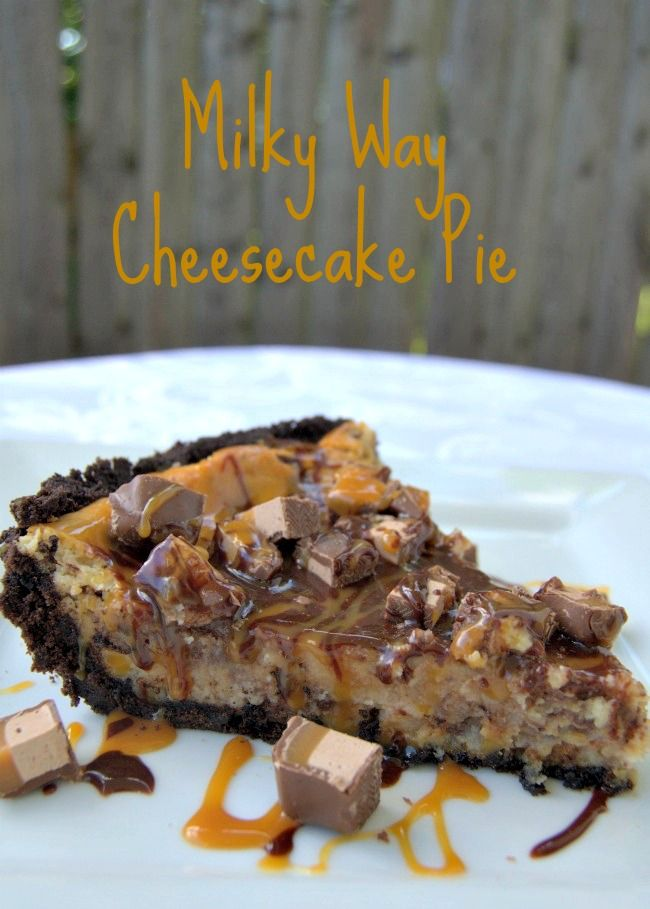 Milky Way Cheesecake Pie #recipe - a fun and great dessert for the kid in you!