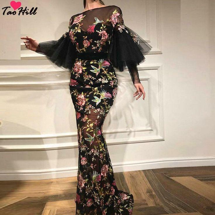taohill bell sleeve o neck flower printed long black dress for