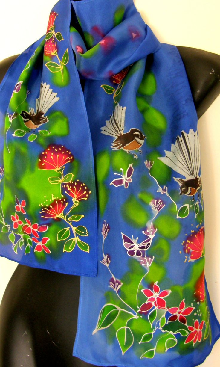 New Zealand FANTAIL  BIRD, Hand Painted Silk Scarf, Fantail Garden, NZ Birds,  Butterfly, Pohutukawa, Blue, Red, Lime, Gold, Hand Made Gift by KiwiSilks on Etsy