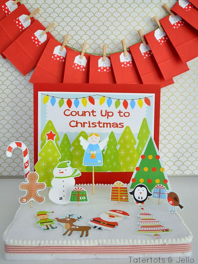 count up to christmas interactive advent calendar at tatertots and jello. Free printables.