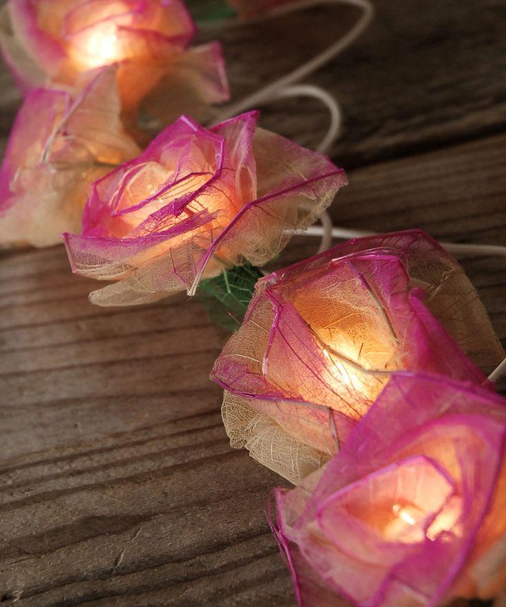 Pink Bodhi Leaf Rose String Lights - summer party decoration