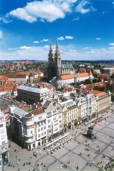 Trg bana Jelačića (Main square) with the Cathedral in the back, Zagreb, Croatia: