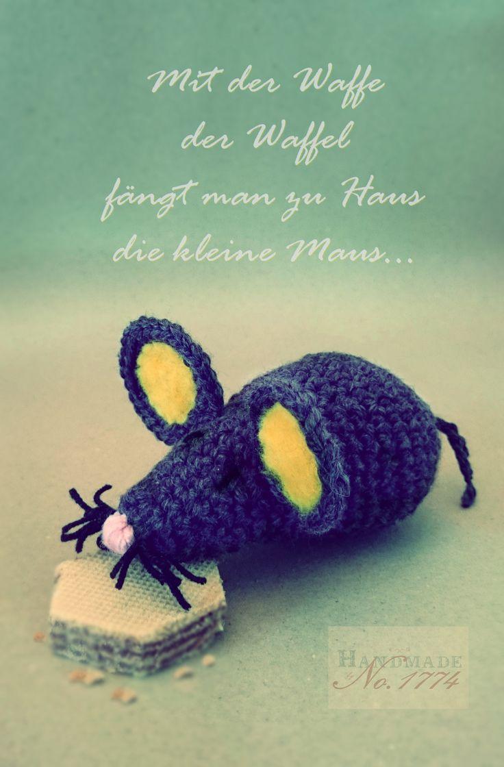 Maus - Kuscheltier - Crochet - grau - mouse - crochet stuffed animal - gehäkelt - Waffel