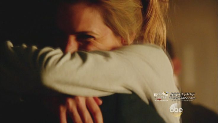 """Castle 7x15  """"Reckoning"""" Castle and Beckett Hug  Castle Is  Back at the 12th precinct. this scene made me cry!"""