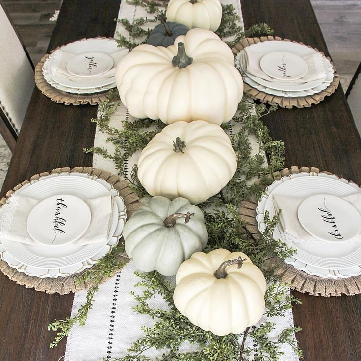 Fall tablescape. White pumpkins. Farmhouse fall decor. @clareandgracedesigns