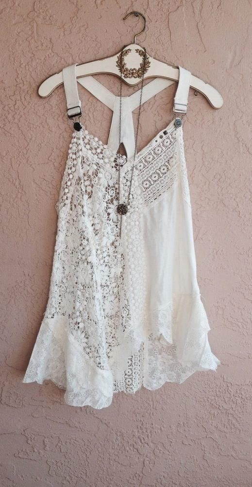 BACK IN STOCK!!!   Free People boho shabby chic overalls tunic with lace and crochet