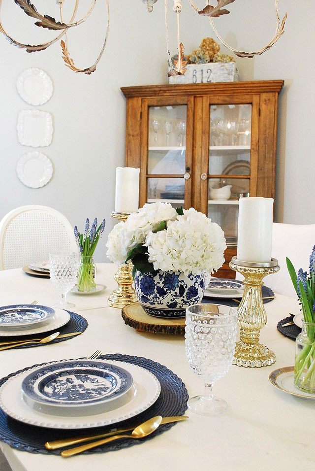 Summer Dining Room In Blue White Dining Room Table Centerpieces Dining Room Table Decor Dining Room Blue