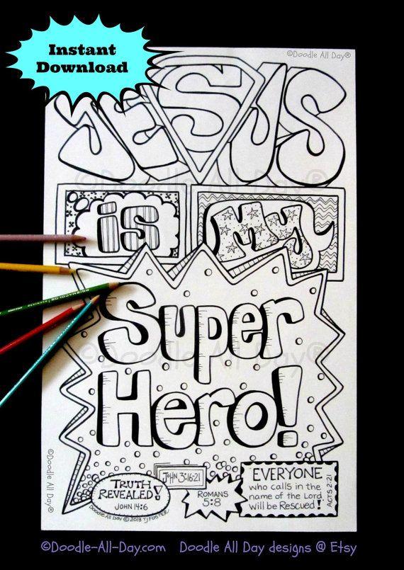 Jesus Superhero 8.5x11 instant download by DoodleAllDaydesigns