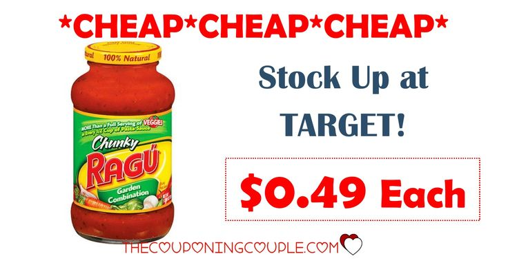 WOW! Don't miss this CHEAP deal on Ragu Pasta Sauce at Target! Pay only $0.49 each!  Click the link below to get all of the details ► http://www.thecouponingcouple.com/ragu-pasta-sauce-target/ #Coupons #Couponing #CouponCommunity  Visit us at http://www.thecouponingcouple.com for more great posts!