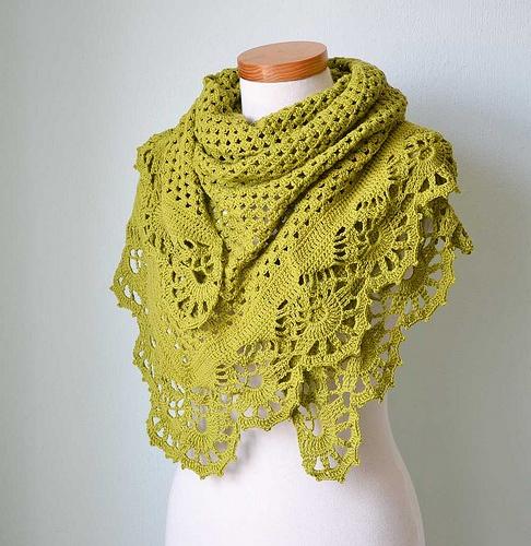 Pistachio crochet shawl - from pattern by Bernadette Ambergen