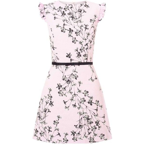 Miss Selfridge Pink Floral Print Shift Dress ($82) ❤ liked on Polyvore featuring dresses, pink, pink frilly dress, floral day dress, flower print dress, pink dress and ruffle dress