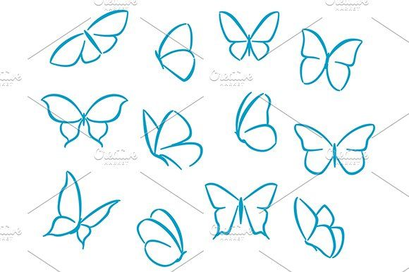 Butterflies Silhouettes Easy Butterfly Drawing Butterfly Outline Butterfly Drawing