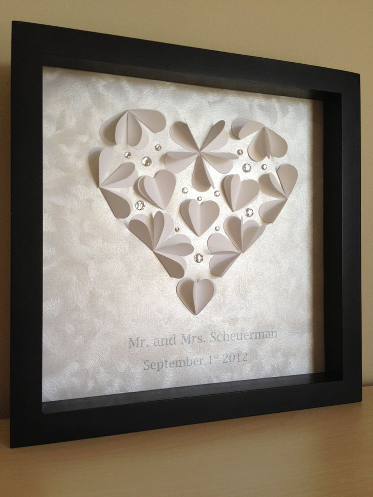 Wedding Heart, 3d Paper Art, perfect for a wedding or anniversay gift, customized to your colors and information. $35.00, via Etsy.