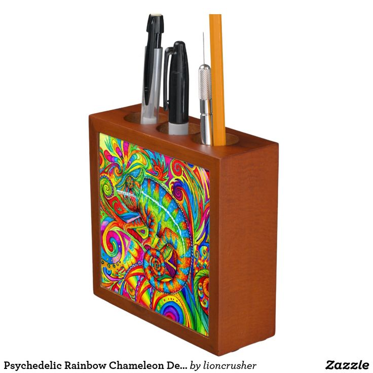 """Psychedelic Rainbow Chameleon Desk Organizer by Rebecca Wang on Zazzle.  Keep your desk neat and tidy with a customized desk organizer. Beautiful colorful animal artwork adorns the front and back of this mahogany wood finished desk piece. Great for keeping clutter contained! Dimensions: 5"""" l x 5"""" w x 1.75"""" d Printed front and back on two 4.25"""" white ceramic tiles. Designed with three compartments."""