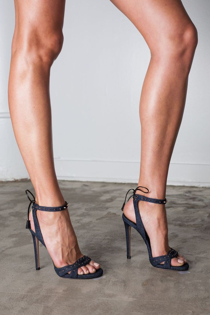 "Ruthie Davis denim studded ""Karin"" stilettos #anklestrapsheelsclosedtoe #stilettoheelsclassy #hothighheelsstockings"