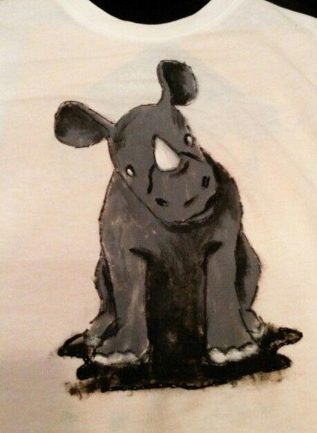 Hand painted, t shirt, baby rhino, baby boy