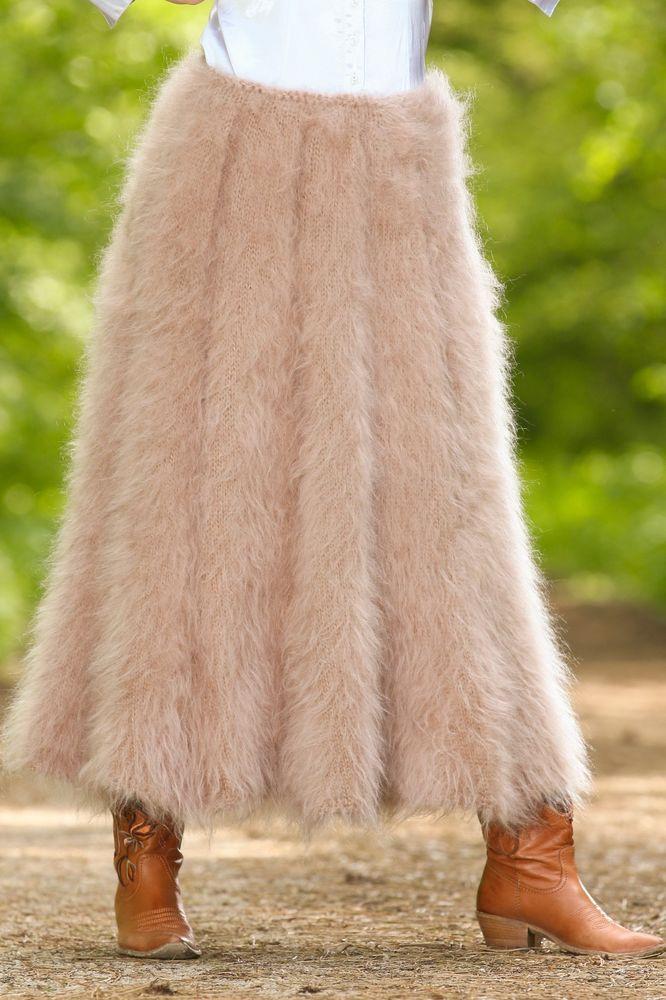SUPERTANYA BEIGE Hand Knitted Mohair Fuzzy Sweater Skirt Stylish Fluffy Dress  #SuperTanya #MohairSkirt