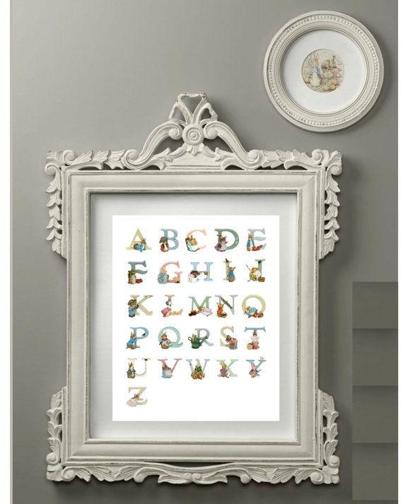 Alphabet print beatrix potter alphabet letters children for Beatrix potter bedroom ideas
